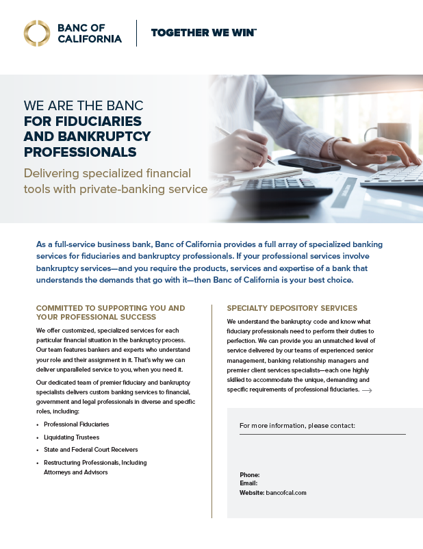 Banc of California Bankruptcy Banking Product Sheet