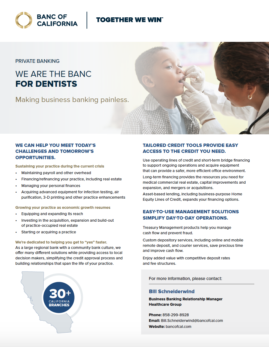 Banc of California healthcare banking product sheet